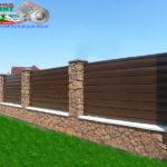 Горизонтальный забор из металлической доски длинной до 12 метров #107