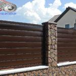 Горизонтальный забор из металлической доски длинной до 12 метров #21