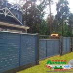 Горизонтальный забор из металлической доски длинной до 12 метров #9