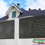 Горизонтальный забор из металлической доски длинной до 12 метров #90