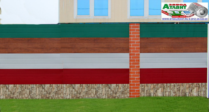 забор из горизонтальной металлической доски